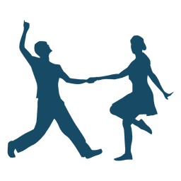 Lindy hop dance couple silhouette