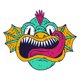 Monster face fish illustration