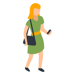 Woman green dress checking phone illustration