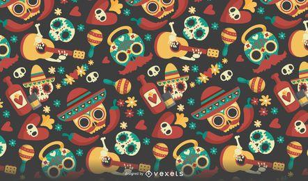 Dia de los Muertos seamless pattern