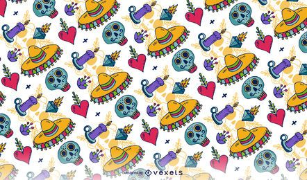 Bright Day of the Dead seamless pattern