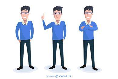 Conjunto de ilustración de dibujos animados de negocios