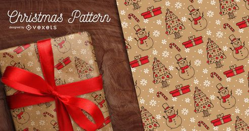 Seamless hand-drawn Christmas pattern