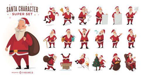Conjunto de ilustraciones de Santa Claus de dibujos animados
