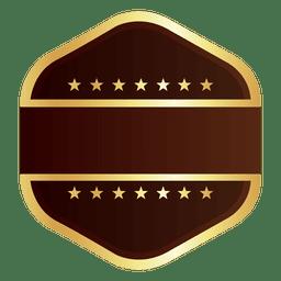 Hexagon golden badge