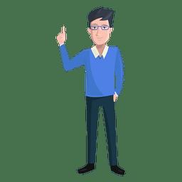Man finger raised illustration