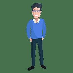 Man hands in pockets illustration