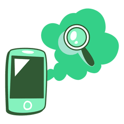 Phone and magnifying glass