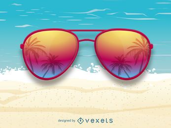 Gafas de sol con reflejo de palmeras