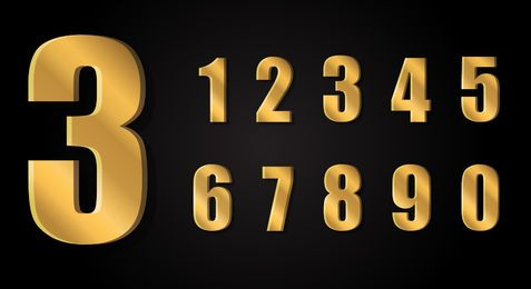 3D gold numbers
