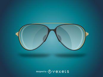Realista ilustración de gafas de sol de aviador