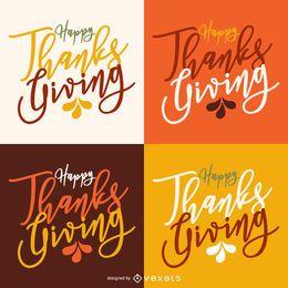 Tarjeta de etiqueta caligráfica de acción de gracias