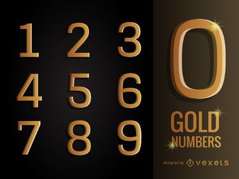 3D gold numbers pack