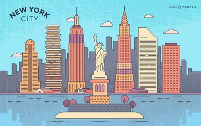 Horizonte de trazo colorido de la ciudad de Nueva York