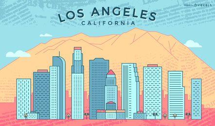 Colorido horizonte de trazo de Los Ángeles