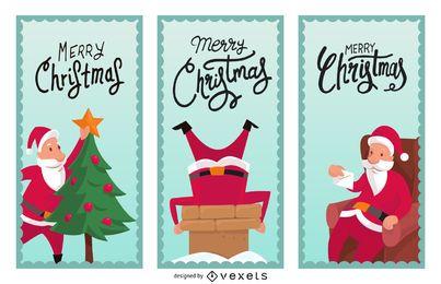 Conjunto ilustrado de banner de Navidad
