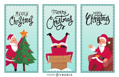 Illustrated Christmas banner set