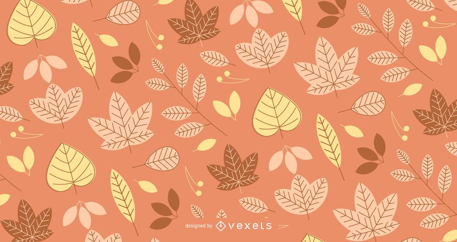 Patrón de otoño con hojas ilustradas
