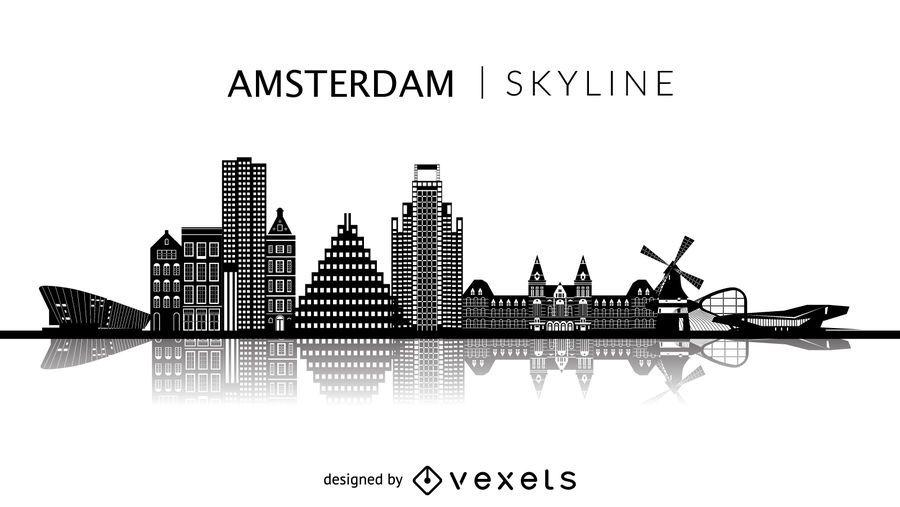 Amsterdam silhouette skyline