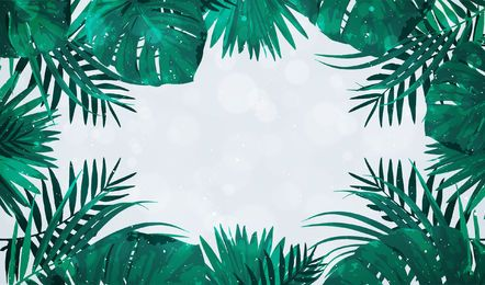 Palm tree leaves frame