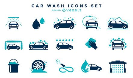 Car wash icon collection