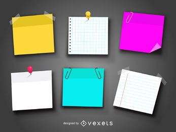 Set of realistic post it and notes