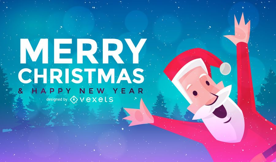 Flat Christmas banner with Santa Claus