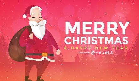 Tarjeta de felicitación de Papá Noel
