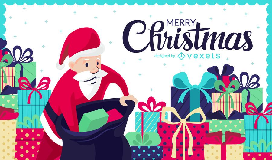 Christmas illustration with gifts and Santa