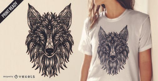 Diseño de camiseta tribal fox