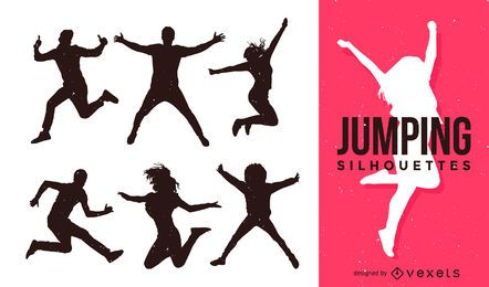 Set of people jumping silhouettes