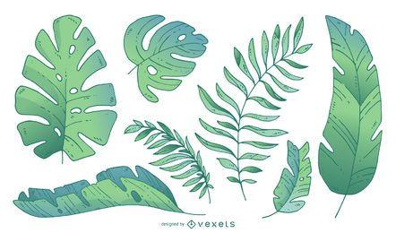 Palm tree leaves in gradient tones