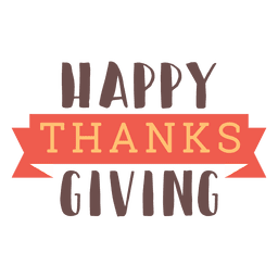 Happy thanksgiving ribbon badge
