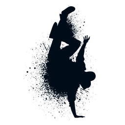 Break dance handstand splash paint silhouette
