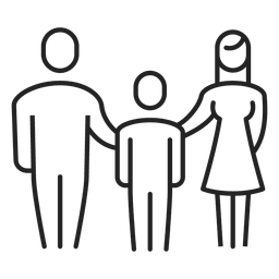 Family with boy child stroke