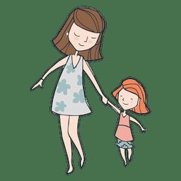 Mom and dauther walking cartoon