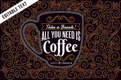Coffee illustration with lettering and swirls
