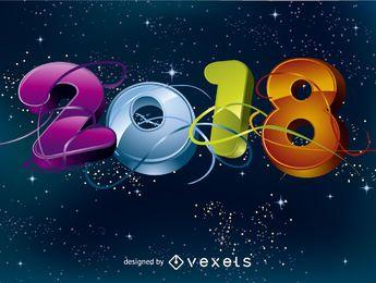 Bright 3D 2018 greeting card