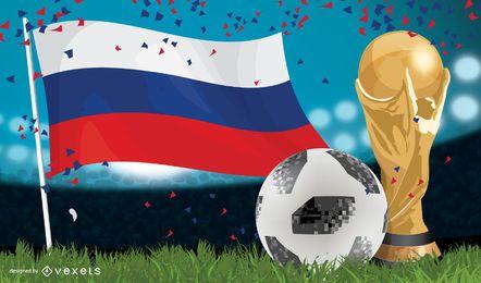 Cartel Rusia 2018 con taza