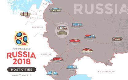 Mapa de ciudades anfitrionas de Rusia 2018