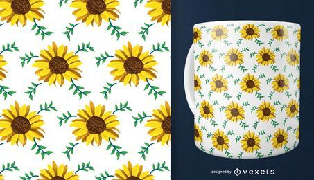Delicate sunflower seamless pattern