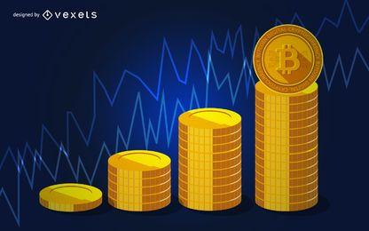 Gráfico de precios de Bitcoin de criptomonedas