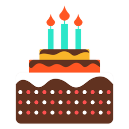 Three candles birthday cake icon