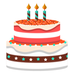 Three candles birthday cake illustration