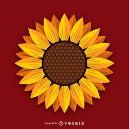 Isolated sunflower illustration