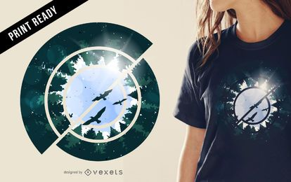Abstract forest t-shirt design illustration