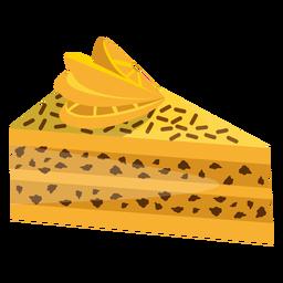 Triangle cake slice with lemon