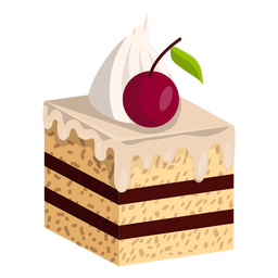 Vanilla cake slice with cherry