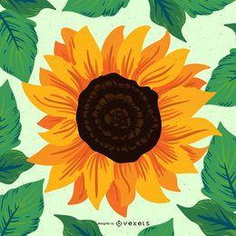 Hand drawn sunflower illustration