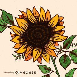 Cute sunflower illustration